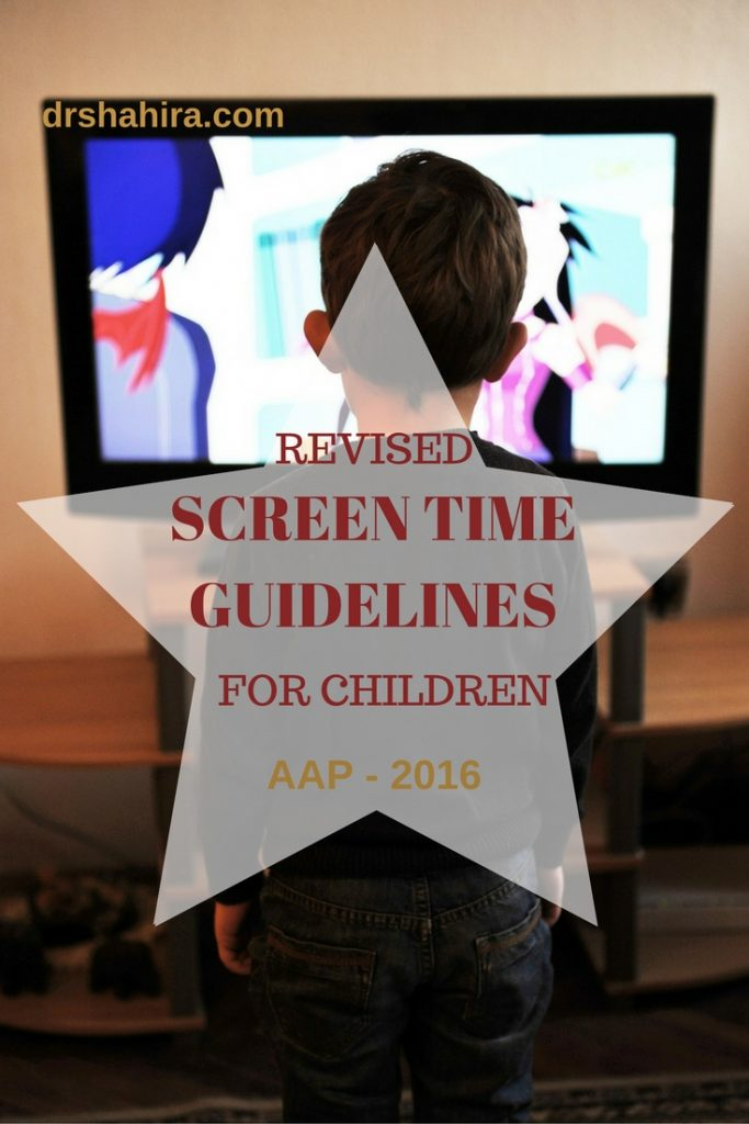 Revised screen time guidelines for children , AAP 2016.